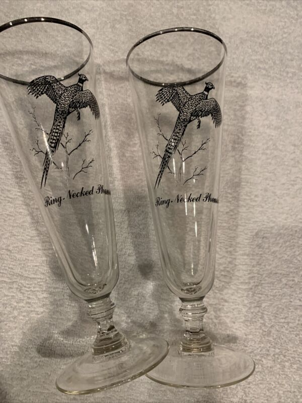 Set of 2 Water Fowl Silver-Rimmed Federal Sportsman Pilsners - Canada Goose