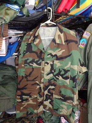 TRI COLOR WOODLAND CAMO USGI Shirt/ Coat WINTER WEIGHT LARGE LONG NWT