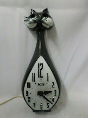 Vintage Spartus Cat Wall Clock for Parts or Repair