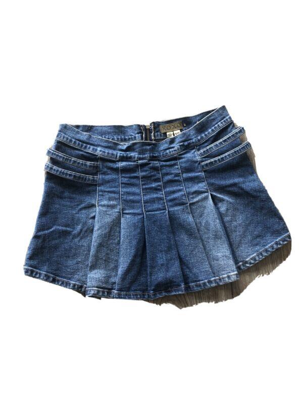 Vintage Y2K XOXO Flare Mini Skirt Denim Rhinestone Buckles Size 9/10
