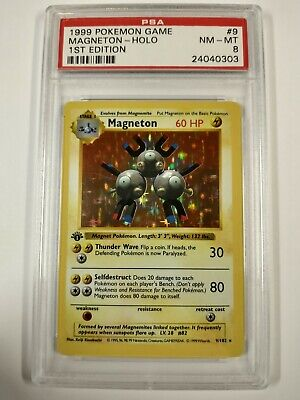 PSA 8 N-Mint Magneton Holo First 1st Edition Thin Stamp English Base Set Pokemon