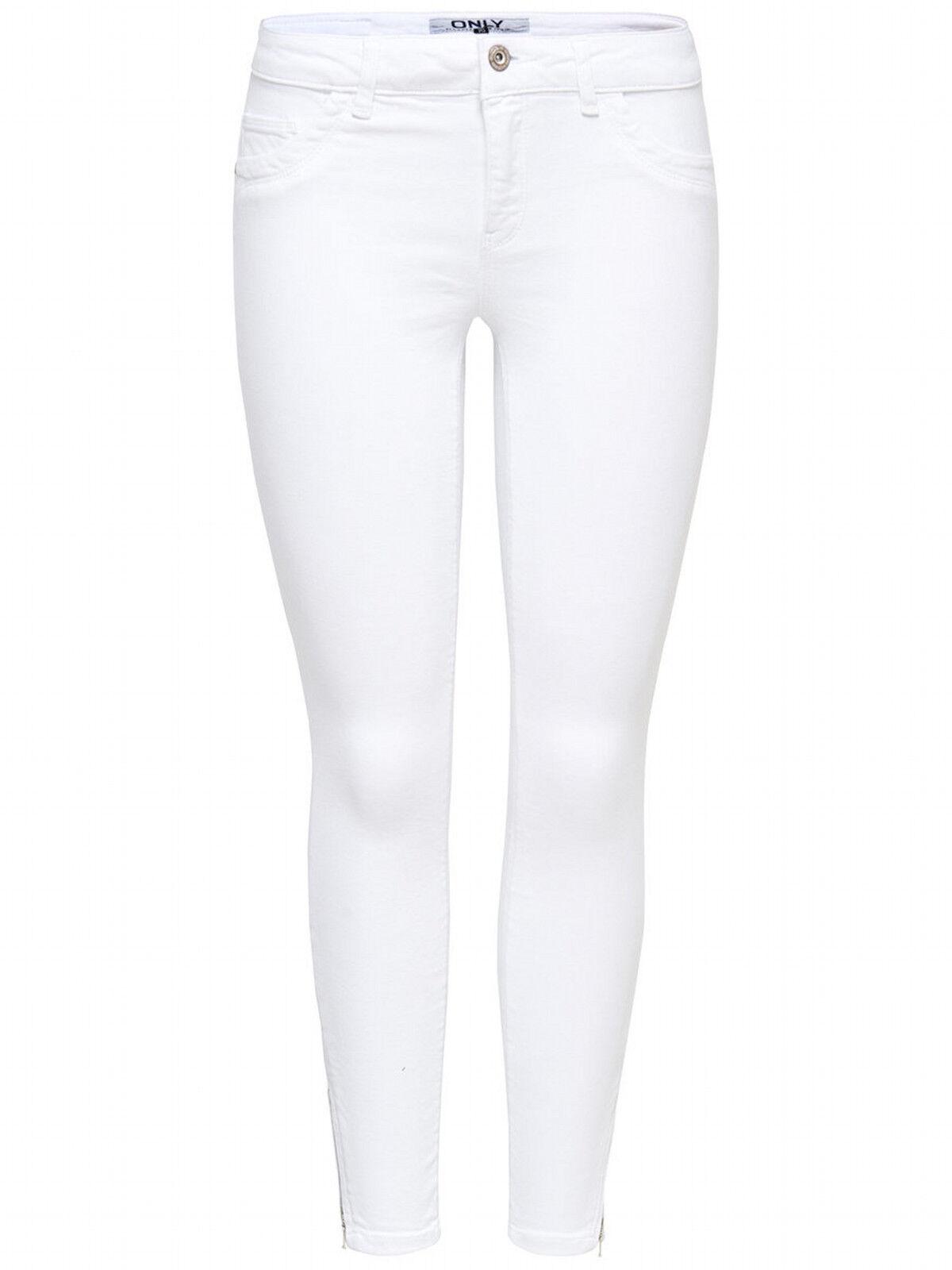 Only Damen Jeans Hose Regular Ankle Skinny-Jeans weiß Stretch NEU