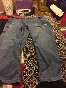 Size 24 cropped jeans with flower decals