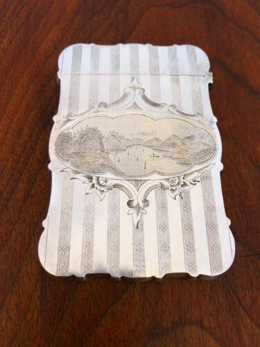 ~ AMAZING AMERICAN COIN SILVER CARD CASE ENGRAVED MOUNTAIN SCENE