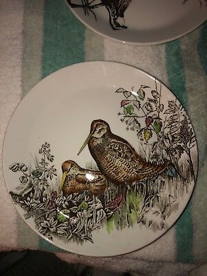 Johnson Brothers Game Birds Cream W/2 Woodcock Salad Plate 8 3/8 Inch EUC