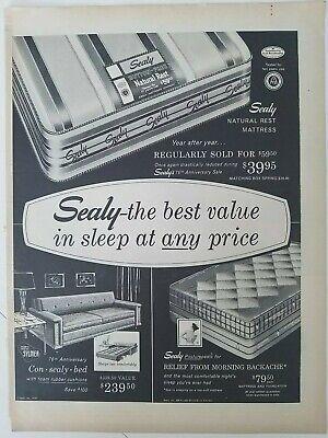 1957 Sealy Posturepedic Natural Apoyo Colchón Mejor Valor Sleep Vintage Anuncio