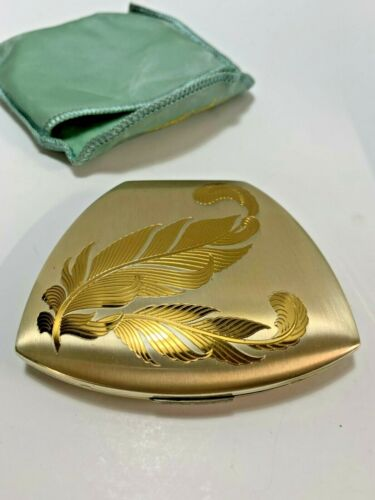 Beautiful Vintage Elgin American Gold Engraved Feather Compact ~ New Never Used