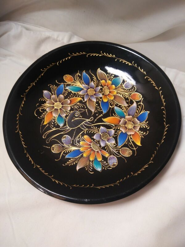 Vintage Floral Tole Wooden Wood Decorative Hand Painted Plate Tray Toleware