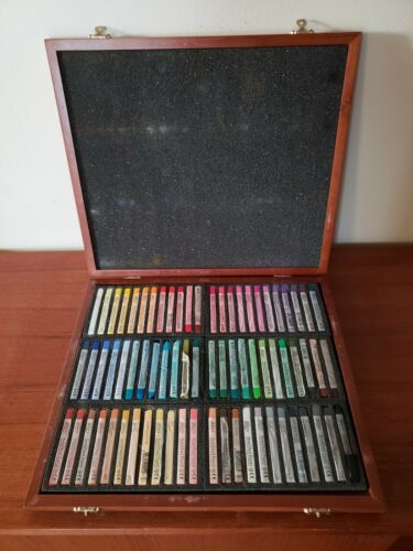 Mungyo Gallery Semi Hard Pastels MPL-72W Wood Box Set of 72  - Assorted Colors