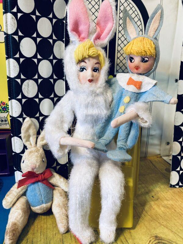 Vintage (2) Japan Knee Hugger Bunny Doll And Her Vintage White Bunny
