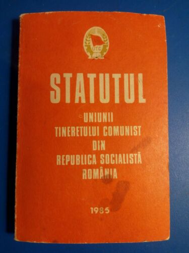 Top rare Romanian statute youth communist wing party Ceausescu booklet