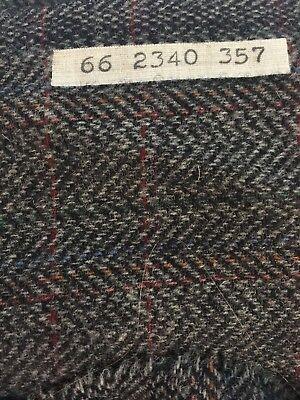 """Vintage Pendleton Heavy Wool Fabric Black Grey Herringbone Plaid 3 yds x 60""""wide"""