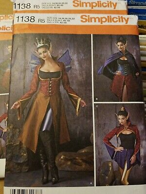 Halloween Dark Faeries Elves Costume Sewing Pattern, 6-12, 14-22 Simplicity 1138