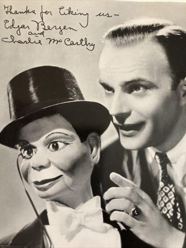 "Vintage Edgar Bergen Charlie McCarthy Photo With Facsimile Autograph 8"" x 10"""