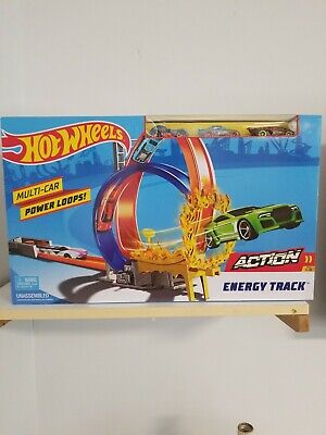 Hot Wheels Action Energy Track Double Power Loops Track Set w 3 Cars ~ NEW