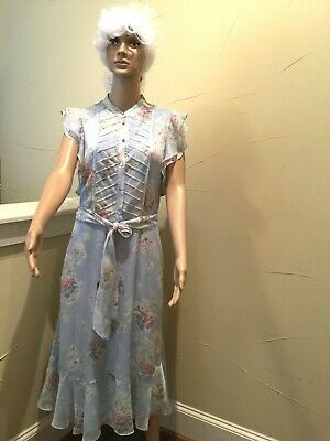 Lauren Ralph Lauren Sz10 Floral Sky blue Midi Dress Fully Lined Pockets Ruffle