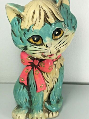 "Vintage 1960's Holiday Fair 8"" Teal Cat With Pink Floral Bow Bank - Ceramic"