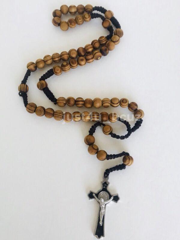 Rosary Wood Brown Jesus Crucifix Cross CATHOLIC Rosario Cafe Cruz Necklace