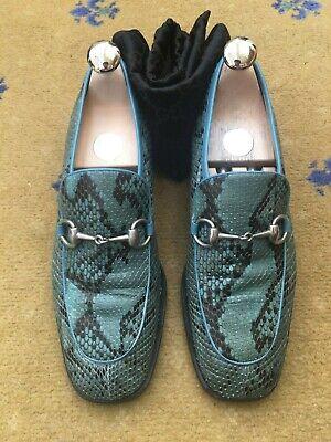 Gucci Mens Shoes Blue Black Leather Snakeskin Horsebit Loafers UK 6 US 7 EU 40
