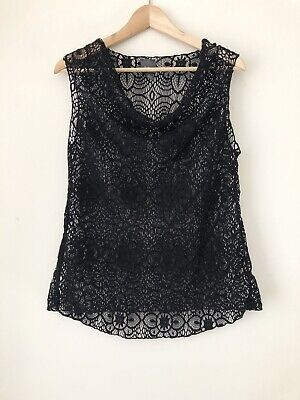 Chicos Travelers Black Lace Sleeveless Cowl Neck Top Women Large Size 2 Black Lace Cowl