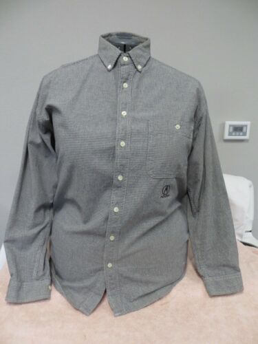 Vintage Mid 1990s ACURA Long Sleeve Navy Blue Checked Shirt - Size Medium