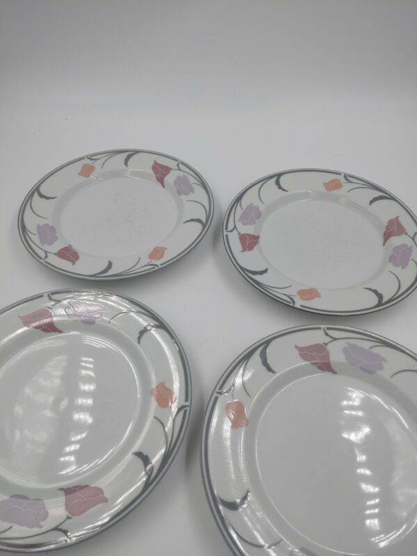 Lot of 4 Dansk International Designs Tivoli Belles Fleurs Taupe Salad Plates