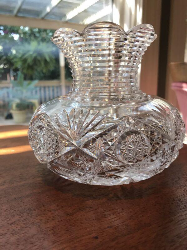 AMERICAN BRILLIANT CUT GLASS FLOWER CENTER: SIGNED: J. HOARE: ARKANSAS ESTATE