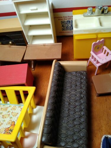 Vtg MAPLE TOWN STORY Misc. DollHouse Furniture Lot 1986 Bandai Kitchen, Chairs,  - $29.99
