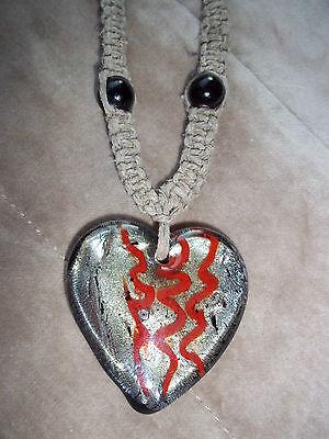 (Handmade 18 inch HEMP Necklace w/ SILVER & RED Glass HEART Pendant E-50)