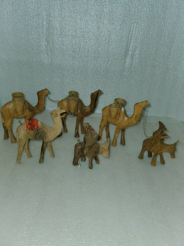 Wood Carved Camels And Donkeys