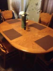 Kitchen table 4 chairs double mechanical leaf pedestal base