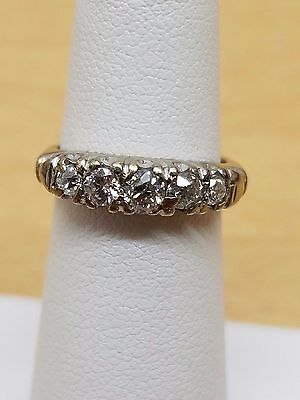 Antique art deco wedding band 14k white gold mine cut diamonds