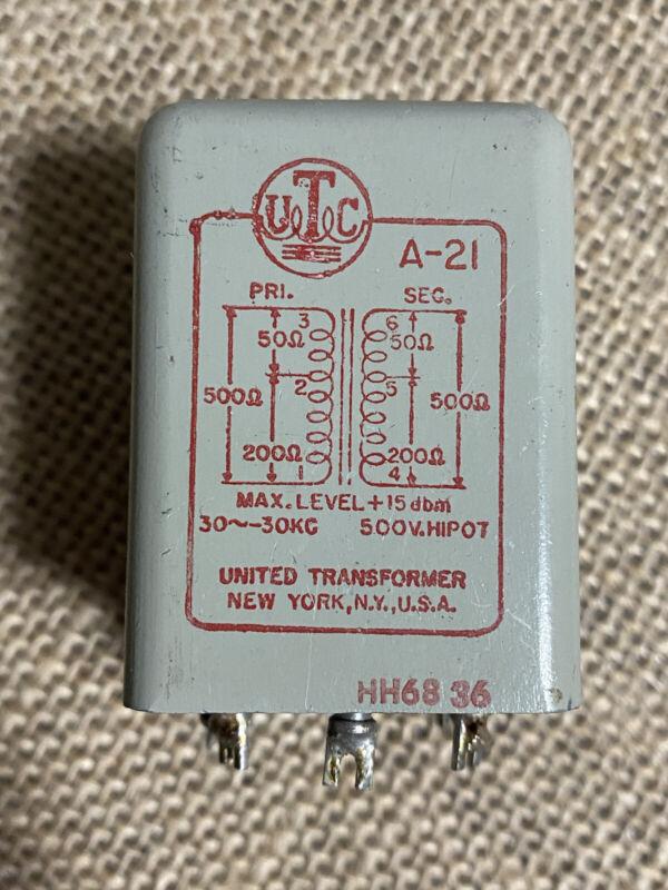 UTC A-21 Transformer Line Audio Isolation Transformer