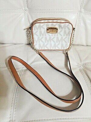 Michael Kors Jet Set Vanilla PVC MK Signature Small Crossbody Wallet Bag Mini