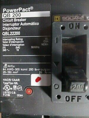 Square D Qbl22200 Powerpact Circuit Breaker 200 Amp 240 Volt 2 Pole New No Box