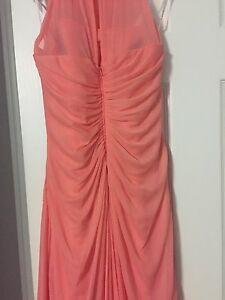 David's Bridal Coral Dress WORN ONCE bridesmaid/prom