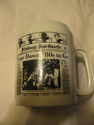 Vintage 1980 Pittsburgh Steelers Post Gazette Four Down 80S To Go Ceramic Mug