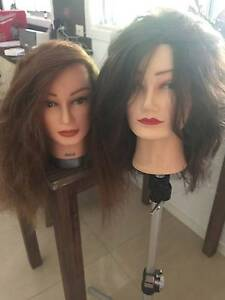 2 Hair Styling Mannequin Heads & Stand Mount Coolum Maroochydore Area Preview