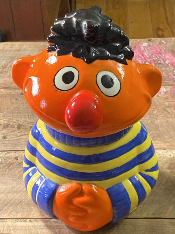 "Vintage Disney Ernie Cookie Jar Blue/Yellow Shirt Sesame Street Muppets-11"" Tall"