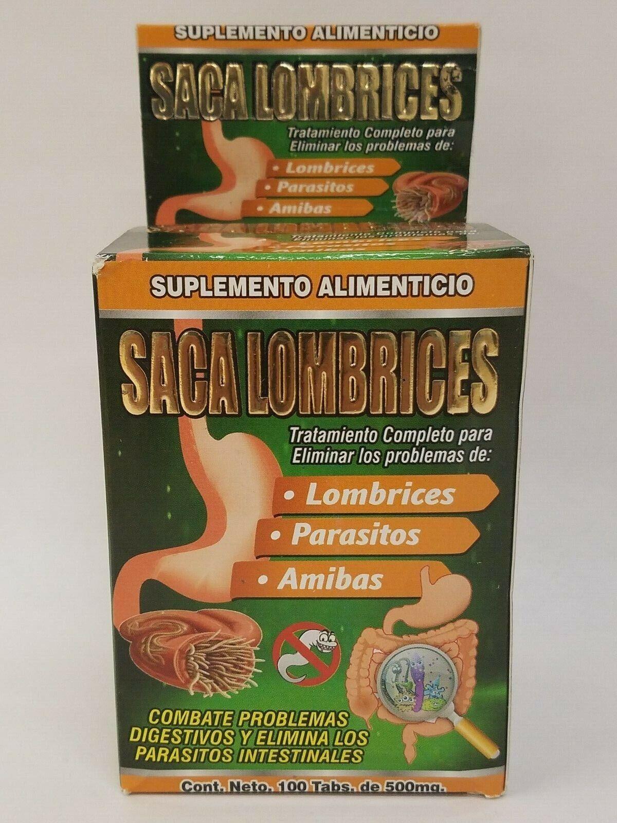 Saca Lombrices Desparasitante Amibas Worms Intestinal Parasites 100 Tablets