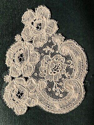 Fine Vintage Duchesse bobbin Point de Gaze needle lace motif handmade