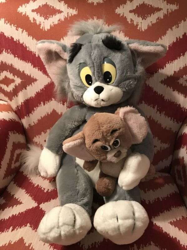 """Vintage Tom And Jerry Attached Plushes 1987 By presents 16"""" Tall Sitting"""