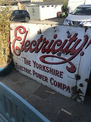 Large Enamel Sign Original Vintage Salavge Yorkshire Leeds