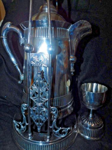 ANTIQUE PAIRPOINT SILVERPLATE SILVER PLATE TILTING WATER PITCHER ON STAND GOBLET