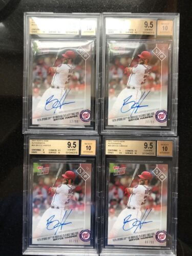 Bryce Harper 2017 Topps Now Auto  5th Opening Day Hr #/99 Nats Auto Bgs 9.5 Qty