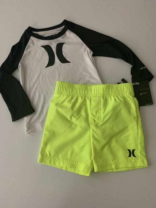 Hurley Toddler Boys Swim Trunks Dri-Fit Shirt Set size 2T Neon Yellow White