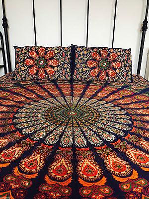 Blue Red Mandala Tapestry Bedsheet & Pillow Case Set