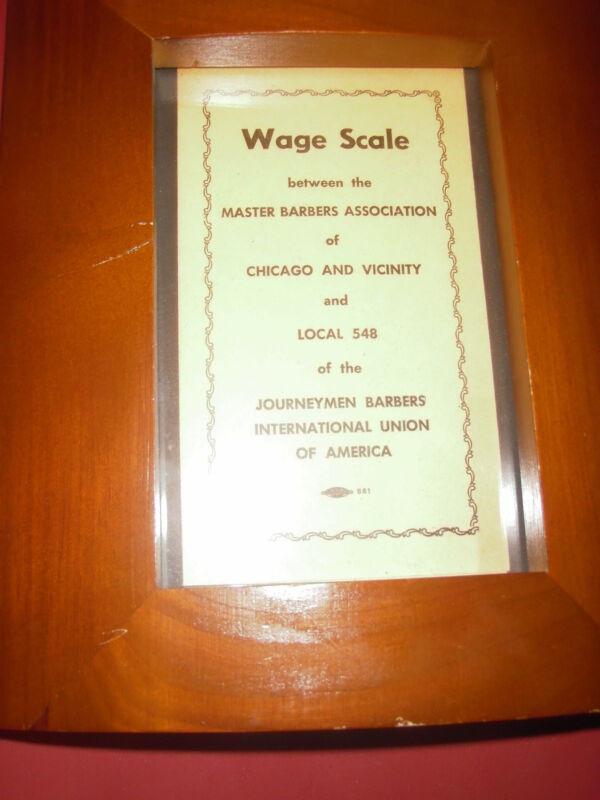VINTAGE BARBER WAGE SCALE 1972 no.54