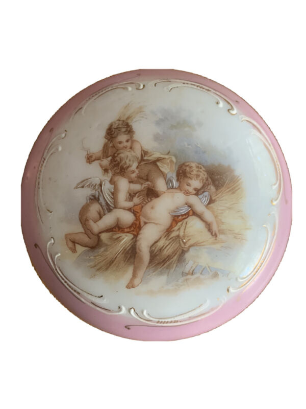 Antique French Opaline Glass Vanity Trinket Powder Box Pink Putti
