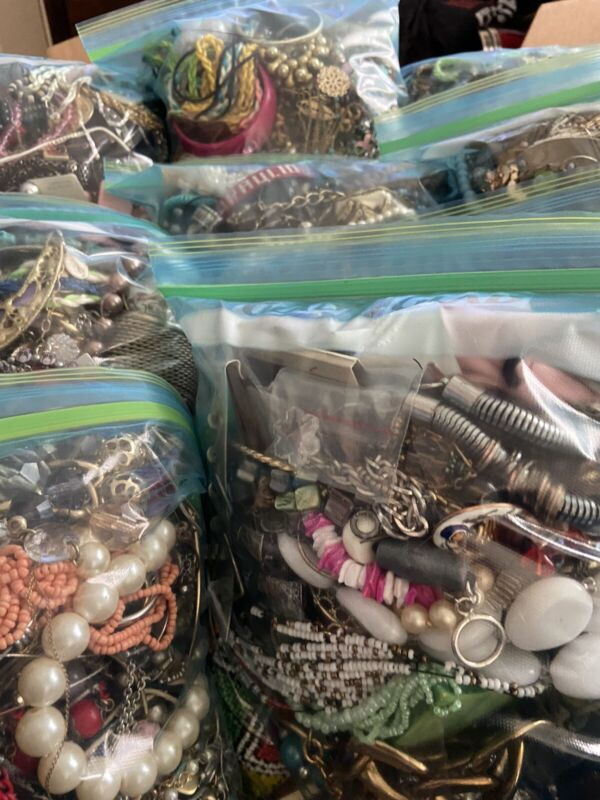 One 6 lb Bag Craft Junk Jewelry - Some Broken/ Some Wearable - Craft/Repair/Wear